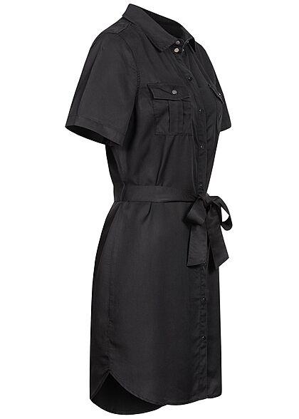 Vero Moda Damen NOOS Denim Blusen Kleid inkl. Bindegürtel Knopfleiste schwarz denim