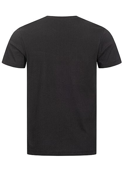 Jack and Jones Herren T-Shirt Logo Schriftzug Regular Fit schwarz weiss