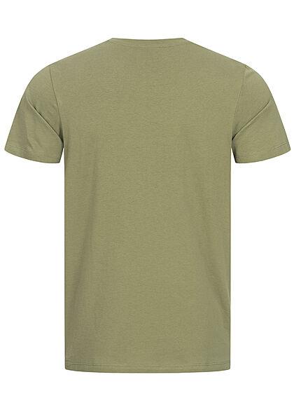 Jack and Jones Herren T-Shirt Logo Schriftzug Regular Fit oil oliv grün