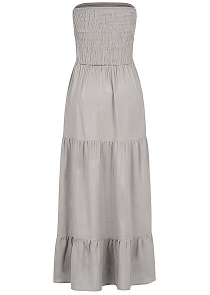 Fresh Made Damen Viskose Bandeau Maxi Kleid Raffdetail oben taupe grau