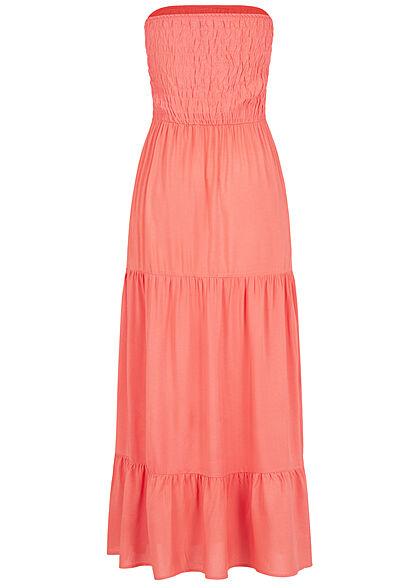 Fresh Made Damen Viskose Bandeau Maxi Kleid Raffdetail oben intense coral dunkel pink