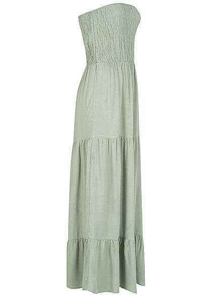 Fresh Made Damen Viskose Bandeau Maxi Kleid Raffdetail oben eisberg grün