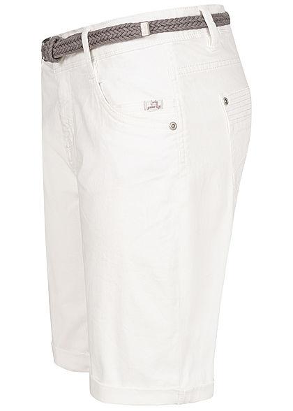 Urban Surface Damen Casual Fit Bermuda Jeans Shorts inkl. Flechtgürtel ivory weiss denim