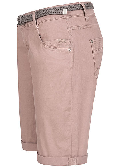 Urban Surface Damen Casual Fit Bermuda Jeans Shorts inkl. Flechtgürtel pale mauve rosa