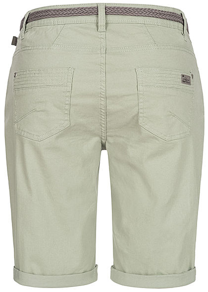 Urban Surface Damen Casual Fit Bermuda Jeans Shorts inkl. Flechtgürtel greyish hell grün