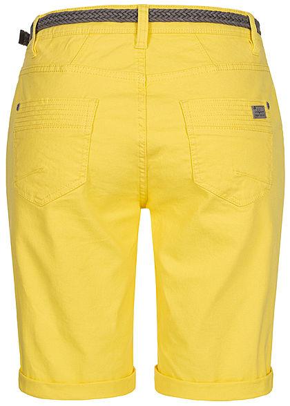 Urban Surface Damen Casual Fit Bermuda Jeans Shorts inkl. Flechtgürtel citrus gelb