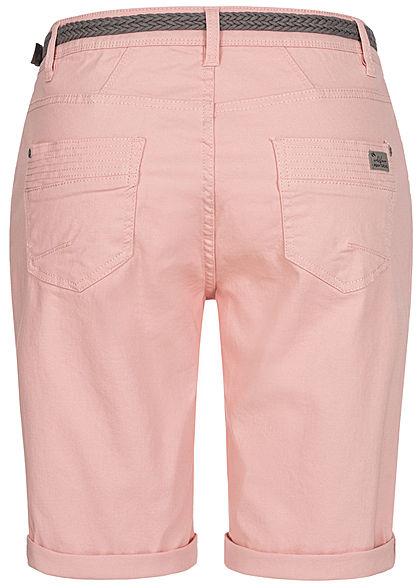 Urban Surface Damen Casual Fit Bermuda Jeans Shorts inkl. Flechtgürtel peachskin rose