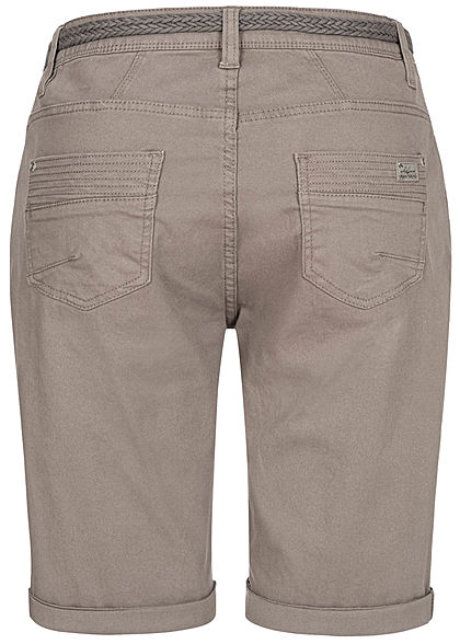 Urban Surface Damen Casual Fit Bermuda Jeans Shorts inkl. Flechtgürtel taupe dunkel grau