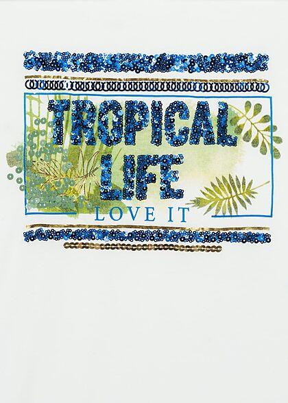 Sublevel Damen T-Shirt Tropical Life Pailletten Print weiss