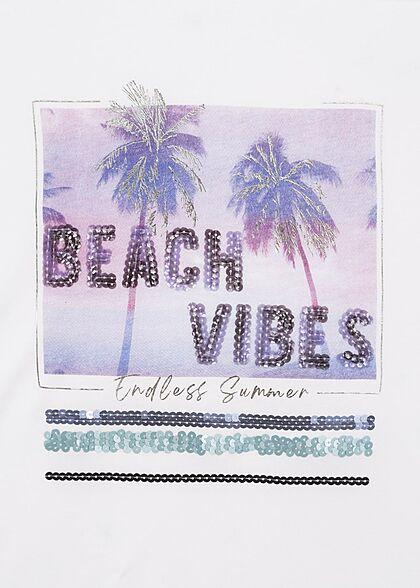 Sublevel Damen T-Shirt Beach Vibes Pailletten Print weiss