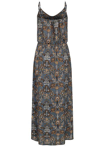 Sublevel Damen Maxi Kleid Taillengummibund Paisley Print navy blau orange