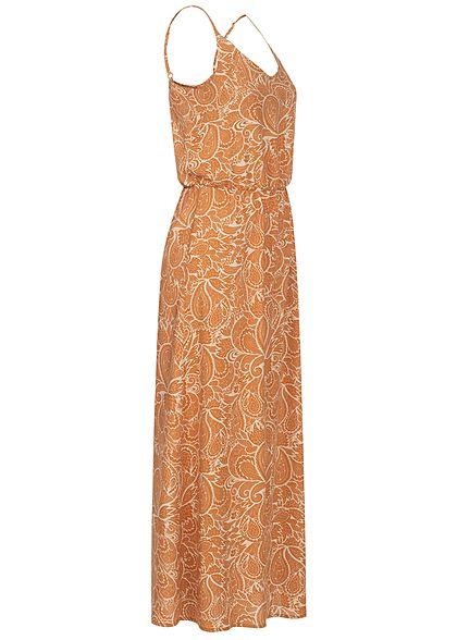 Sublevel Damen Maxi Kleid Taillengummibund Paisley Print toffe braun sahara sand beige