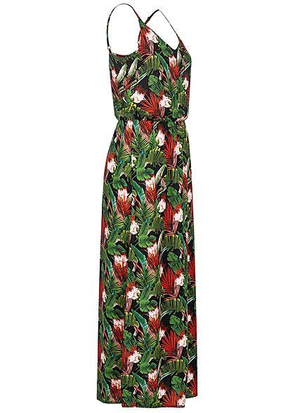 Sublevel Damen Maxi Kleid Taillengummibund Tropical Print schwarz rot