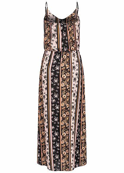 Sublevel Damen Maxi Kleid Taillengummibund Streifen Blumen Muster schwarz rosa