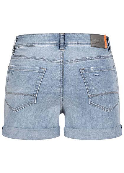 Sublevel Damen kurze Jeans Shorts Destroy Look 5-Pockets hell blau denim