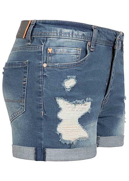 Sublevel Damen kurze Jeans Shorts Destroy Look 5-Pockets dunkel blau denim