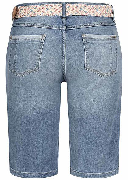 Sublevel Damen Bermuda Jeans Shorts inkl. Flechtgürtel 5-Pockets hell blau denim