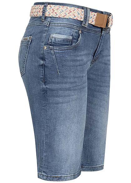 Sublevel Damen Bermuda Jeans Shorts inkl. Flechtgürtel 5-Pockets medium blau denim