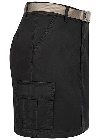 Sublevel Damen Mini Cargo Rock inkl. Gürtel 6-Pockets schwarz