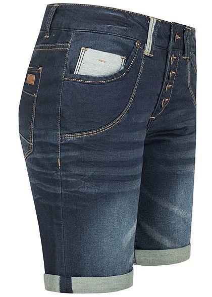 Urban Surface Damen Turn-Up Bermuda Jeans Shorts 5-Pockets Knopfleiste dunkel blau denim