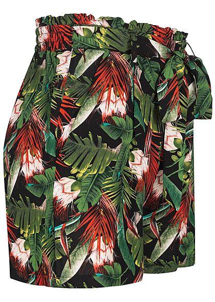 Urban Surface Damen Shorts mit Bindedetail Gummibund Tropical Print schwarz