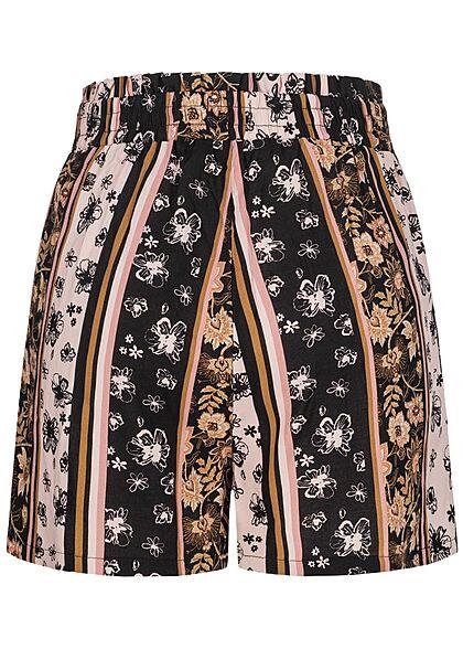 Urban Surface Damen Shorts mit Bindedetail Gummibund Streifen Muster schwarz rosa