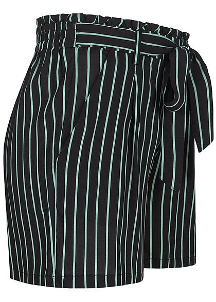 Urban Surface Damen Shorts mit Bindedetail Gummibund Streifen Muster schwarz grün