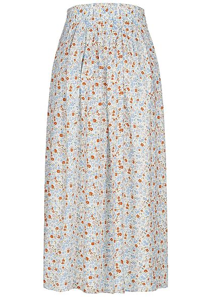 Urban Surface Damen Longform Falten Rock Deko Knopfleiste Blumen Muster beige blau