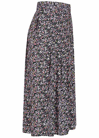 Urban Surface Damen Longform Falten Rock Deko Knopfleiste Blumen Muster schwarz mc