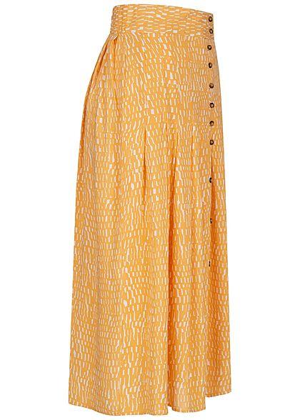Urban Surface Damen Longform Falten Rock Deko Knopfleiste Flecken Muster honey gelb
