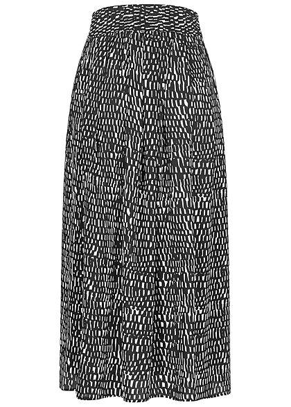 Urban Surface Damen Longform Falten Rock Deko Knopfleiste Flecken Muster schwarz weiss