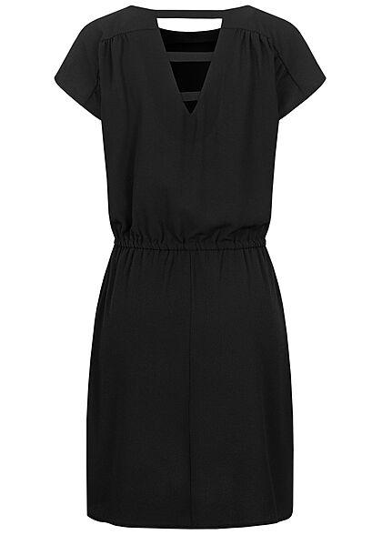 Vero Moda Damen NOOS Mini Krepp Kleid Tunnelzug unicolor schwarz