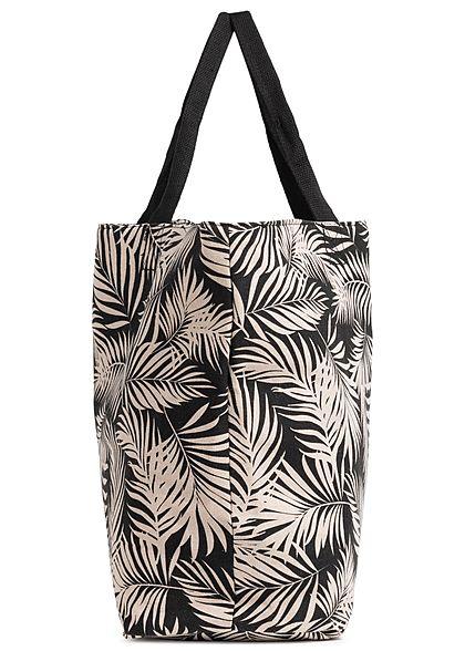 Hailys Damen Handtasche Shopper Tropical Leaf Print 57x39cm schwarz beige