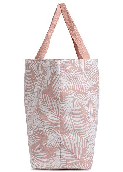Hailys Damen Handtasche Shopper Tropical Leaf Print 57x39cm rosa weiss