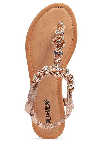 Seventyseven Lifestyle Damen Schuh Sandale Zehensteg Deko Applikation champagne rose