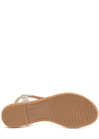 Seventyseven Lifestyle Damen Schuh Sandale Zehensteg Deko Applikation gold
