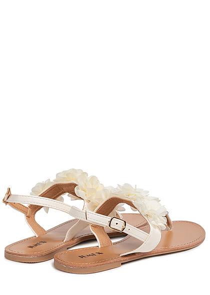 Seventyseven Lifestyle Damen Schuh Sandale Zehensteg Deko Applikation beige