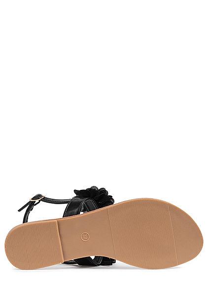 Seventyseven Lifestyle Damen Schuh Sandale Zehensteg Deko Applikation schwarz