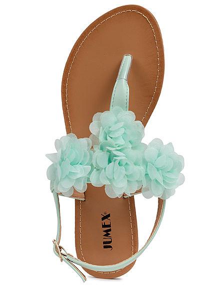 Seventyseven Lifestyle Damen Schuh Sandale Zehensteg Deko Applikation grün