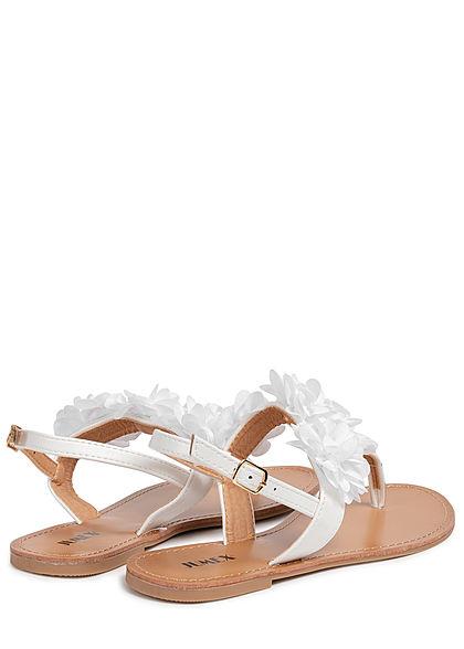 Seventyseven Lifestyle Damen Schuh Sandale Zehensteg Deko Applikation weiss