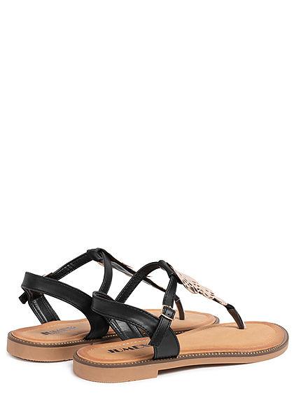 Seventyseven Lifestyle Damen Schuh Sandale Zehensteg Deko Applikation schwarz gold