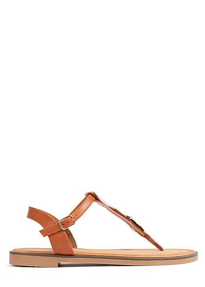 Seventyseven Lifestyle Damen Schuh Sandale Zehensteg Deko Applikation camel braun gold