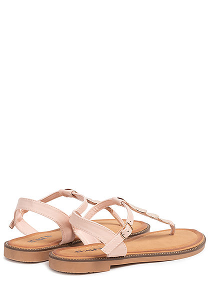 Seventyseven Lifestyle Damen Schuh Sandale Zehensteg Deko Applikation pink gold