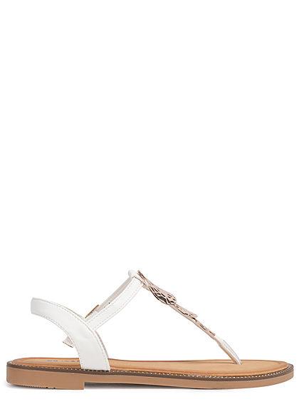 Seventyseven Lifestyle Damen Schuh Sandale Zehensteg Deko Applikation weiss gold