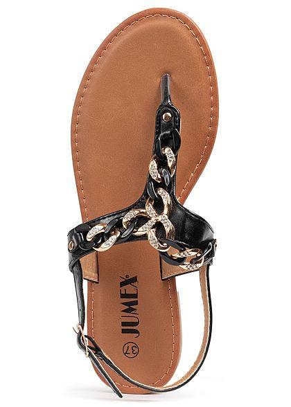 Seventyseven Lifestyle Damen Schuh Sandale Zehensteg Deko Flecht Applikation schwarz