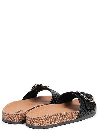 Seventyseven Lifestyle Damen Schuh Sandale Schnalle schwarz gold