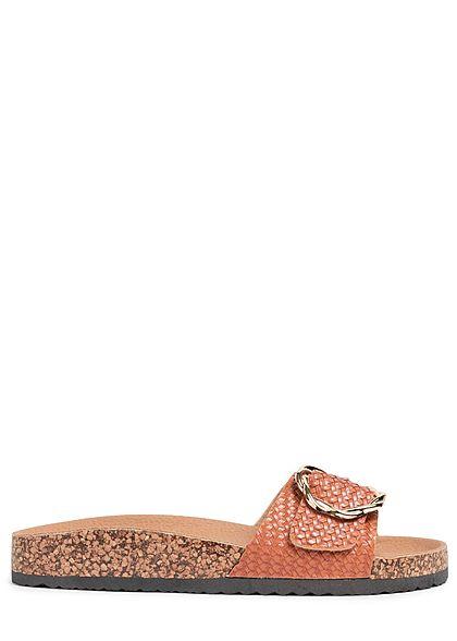 Seventyseven Lifestyle Damen Schuh Sandale Schnalle camel braun gold