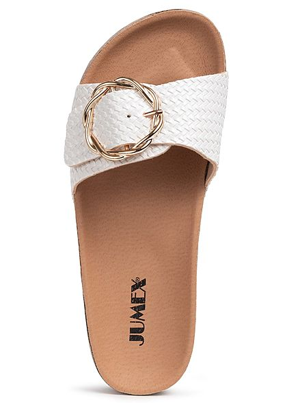 Seventyseven Lifestyle Damen Schuh Sandale Schnalle weiss gold