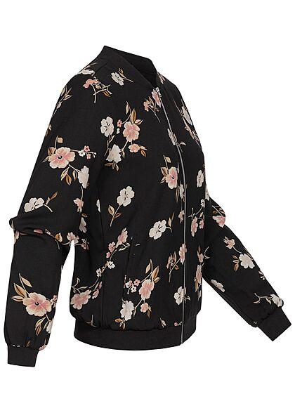 Vero Moda Damen Bomber Jacke Übergangsjacke Blumen Muster schwarz