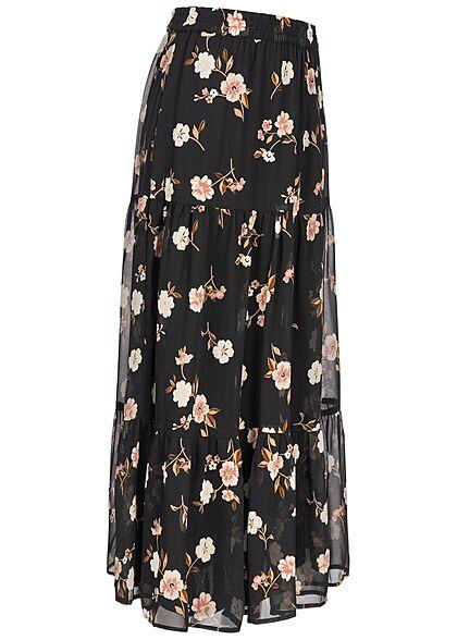 Vero Moda Damen Longform Stufen Rock 2-lagig Blumen Muster schwarz